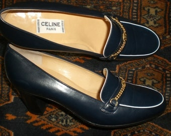 Celine Vintage P 36 Navy blue leather shoes and white new