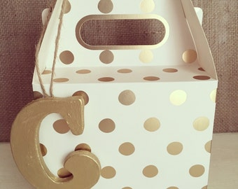 Gold Polka Dot Gift Box and Gold Wooden Letter Wedding Favour
