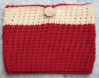 Red Tablet Case - Crocheted iPad Mini Pouch or eReader Sleeve - Scarlet & Tan Bag with Button Closure - Gift for Her
