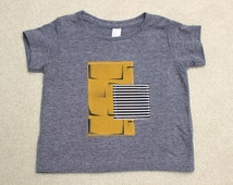 Infant Mustard Print and Stripes Collage T-shirt Sizes 3-6 months to 18-24 months