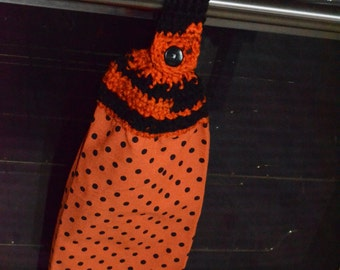 Black and Orange Kitchen Towel
