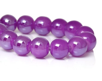 20 Violet Round Glass Beads | 8 mm Glass Beads | 4013