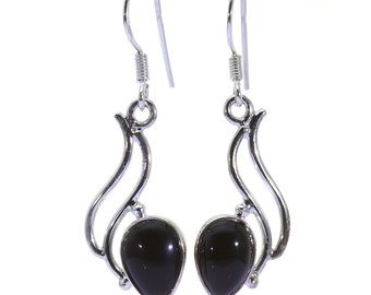 Black Onyx Earrings, 925 Sterling Silver, Unique only 1 piece available! color black, weight 5.1g, #38369