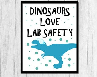Lab Safety Poster Science Teacher Gift Digital Download Dinosaur Scientist Poster Funny Classroom Decor Science Classroom Decor Printable