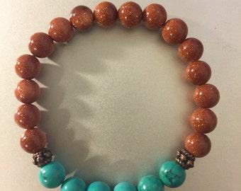 Goldstone and Turquoise Bracelet
