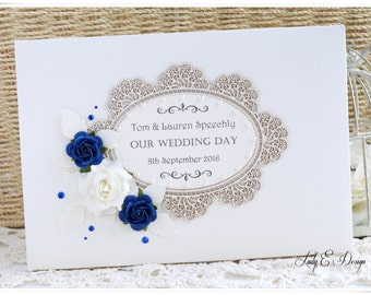 Vintage Personalised Handmade Wedding Anniversary Guest Book IVORY Lace All Colors
