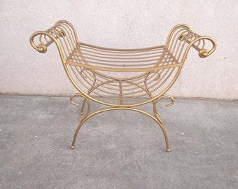 vintage gold gilt wrought scrolled iron Italian regency vanity bench stool