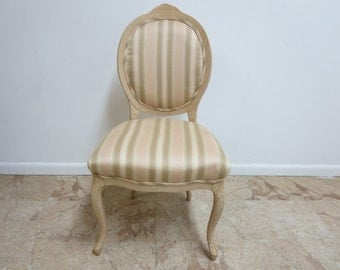Vintage French Regency Paint Distressed Regency Louis XV Desk Dining side chair