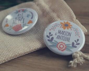"""Nouveau - Badges 38 MM collection """" Folk Wedding """" à personnaliser - commande min 10"""