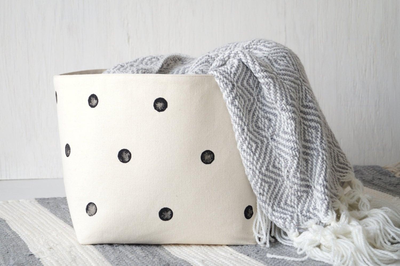 Large Cotton Canvas Storage Basket White Laundry Hamper Toy