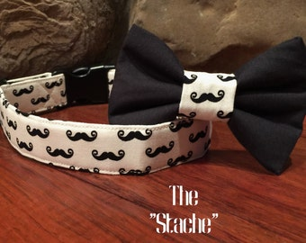 Dog Collar, Mustache dog collar, Black and white dog collar, Mustache bow tie, Mustache dog accessory, Black mustache collar, stache collar