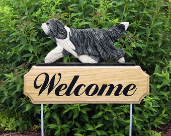 Bearded Collie Welcome Garden Stake