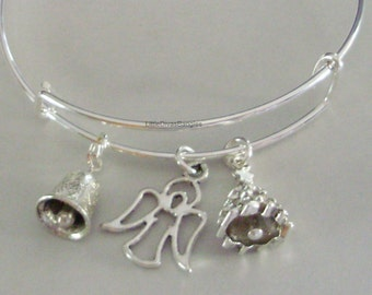 Bell / Angel / Christmas Tree - CHRISTMAS Adjustable Bangle Personalize Your Expandable Bracelet - Gift For Her - Under 20 USA  W1