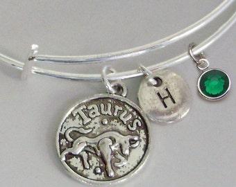 TAURUS Zodiac CHARM W/ Initial /  Birthstone - Adjustable Expandable Bangle Bracelet -  Zodiac Bracelet  Gift - Under 20   Usa Z1