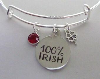 100% IRISH CHARM  W/  Birthstone / INITIAL   4 Leaf Cover Drop / Bangles / Irish Charm Bracelets Under Twenty / Gift For Her Usa  IR1