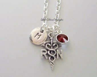 RN  Nurse  CHARM  W/  Swarovski Birthstone / Initial RN Necklace / Nurse Necklace / Chain Necklace Gift For Her / Under 20  Usa   Nk1