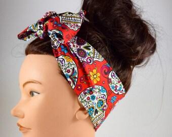 Day of the dead bandana, Dia de los muertos headband, sugar skull bandana, halloween bandana, day of the dead headband, skull hair bow, bow