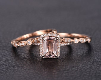 6x8mm Emerald Cut Morganite Ring, 3 Wedding Ring Set,2 Diamond Art Deco Wedding Band Half Eternity,14K Rose Gold Bridal Rings