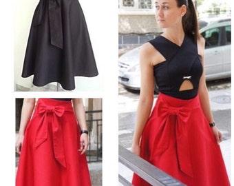 High Waisted Skirt / Midi Skirt Women / A-Line Vintage Style / Bow Skirt / Spring Skirt / Women's Skirt