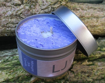 Scented Soy Candle Tin - musky MIDNIGHT SILK