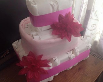 Square, 3 tier, nappy cake