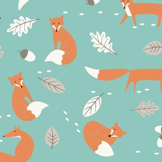 Mr fox print fabric duck egg linen look 100 cotton novelty for Fox print fabric