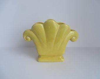 Vintage yellow ceramic planter
