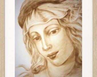 Portrait, Printable Wall Art, Digital Print, original dry brush oil painting, Instant Download