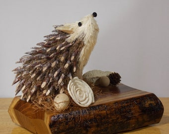 Woodland Decor, Woodland Animals, Hedgehog Figurine, Walnut Home Decor, Hedgehogs