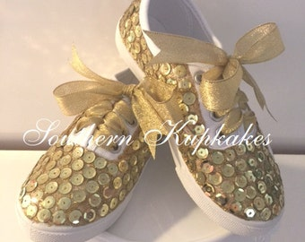 SHiNY Blingy AMaZiNG Birthday Party PAGEANT GOLD Sequin Satin Lace BOUTiQUE Custom Shoes SNEAKS KiCKS Kix All Colors available All Sizes