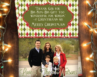 FAMILY CHRISTMAS CARD Digital File | 5x7 | Choice of Custom Message | Custom with Photo | Christian | Religious | Bible Verse | Red Glitter