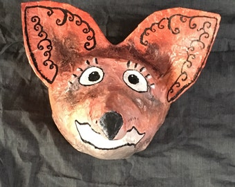 Surprised Fox paper mache animal head