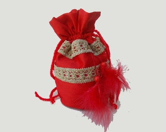 Small drawstring gift bag - Drawstring close pouch - cotton red pouch