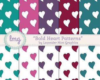 Bright Heart Digital Paper, Digital Scrapbooking, Digital Kraft Paper, Romantic Paper, Scrapbook Papers, Hearts Background-Commercial Use