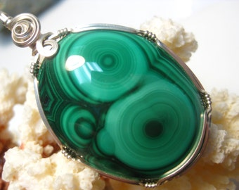 A+ Quality Malachite Pendant Wire Wrapped in Sterling Silver Wire