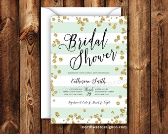 Mint Gold Bridal Shower Invitation Wedding Shower Invitation Elegant Modern Boho Invite Mint Stripe Black Gold 5x7 Digital File or Printed