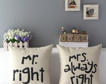 Mr Right Mrs Always Right Linen Cotton Pillow Sofa Cushion Case