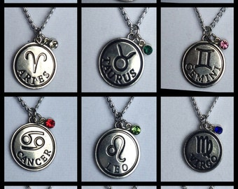 Zodiac Jewelry Zodiac Necklace birthstone necklace Capricorn Aquarius Pisces Aries Taurus Gemini Cancer Leo Virgo Libra Scorpio sagittarius