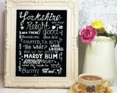 Hand Typography Yorkshire dialect snippets instant download. Sheffield, South yorkshire accent.