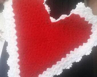 Vintage crochet heart, Red crochet heart, Sweet heart, Gift heart, Valentine heart, Gift for her
