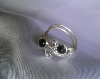sterling silver ring , wire wrapped ring , black inyx ring , handmade jewelry