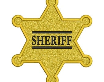 Sheriff Badge Applique Embroidery Design Instant Download 0045