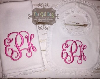 Monogrammed Ruffled Bib and Burp Cloth Set