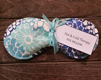 Eye Pillow - Hot & Cold Therapy Rice Pack  - Floral Design (Flannel)