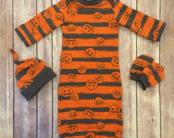 Halloween baby gown, knot hat, and no scratch mittens, gender neutral newborn set