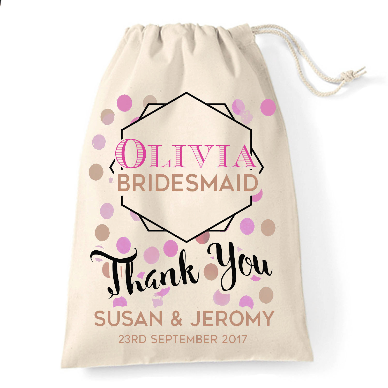 Personalised Wedding Gift Bags : Personalised wedding favour gift bag Bridesmaid thank you