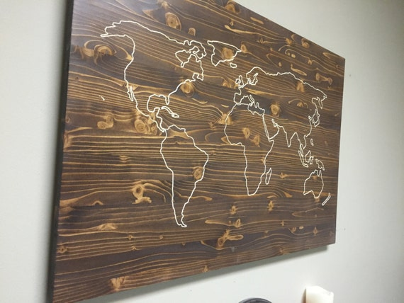 Carved World Map Wall Art Wooden World Map Carved Wood By