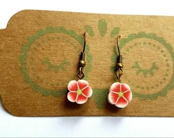 Daisy flower earrings on bronze earring hooks - Gift idea