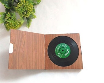 Retro Vinyl Coasters, set of 6