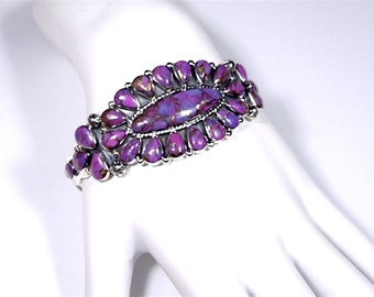 Genuine Arizona Purple Turquoise 925 Sterling Silver Handcrafted Cuff Bracelet